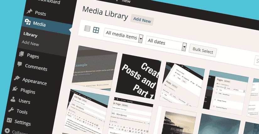 WordPress Media Library Dashboard